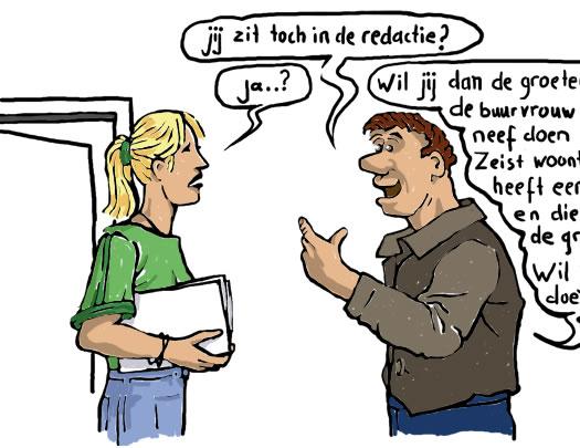 Betreft cartoon voor opschrift kwartaalblad van het facilitair