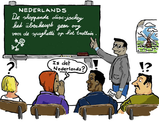 cartoon Nederlandse taalles